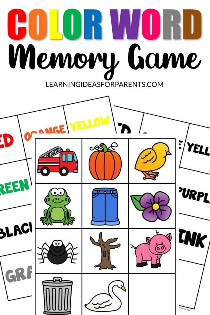 Color Word Memory Game Free Printable in 2020 Memory