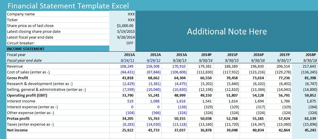 Financial Statement Template Excel Financial statement