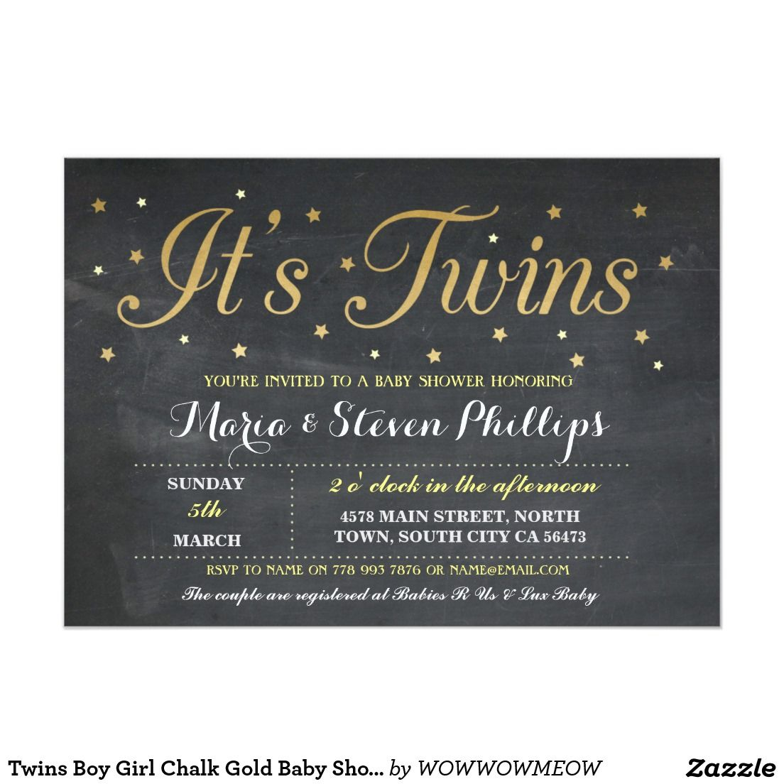 Twins Boy Girl Chalk Gold Baby Shower Invitation | Twin Babies ...