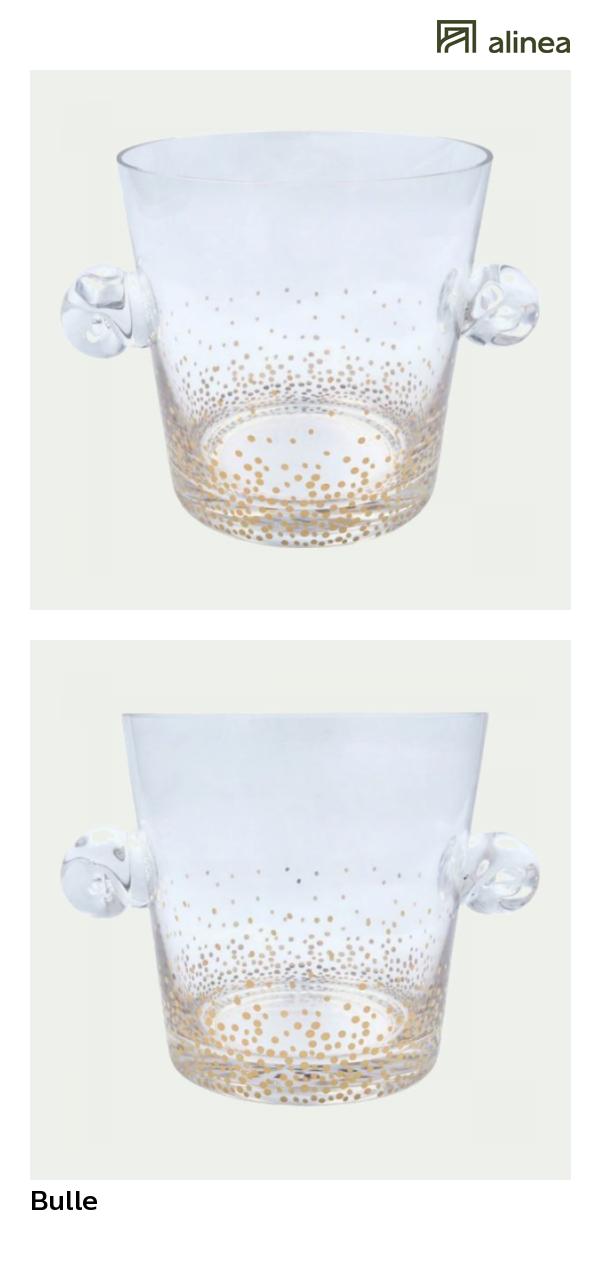 Bulle Seau  gla§ons en verre décoré de bulle dorées