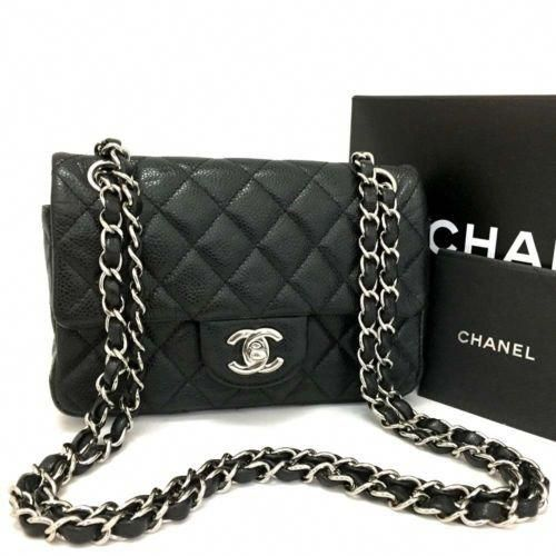 869acd0161ea CHANEL Quilted 20 Silver Hardware Turn Lock Caviar Skin Mini Shoulder Bag/r729  #Chanelhandbags