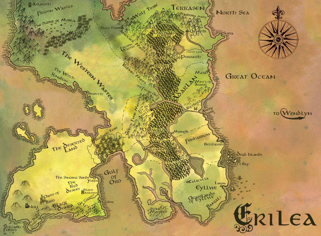 Coloured version of the map of Erilea
