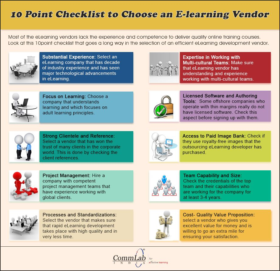 10 Point Checklist To Choose An Elearning Vendor An Infographic Elearning Elearning Design Elearning Infographics