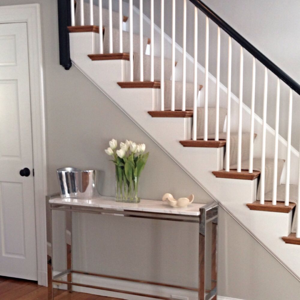 Entry Way Console Table With High Gloss Black Staircase. Mitchell Gold Bob  Williams Emilio Console