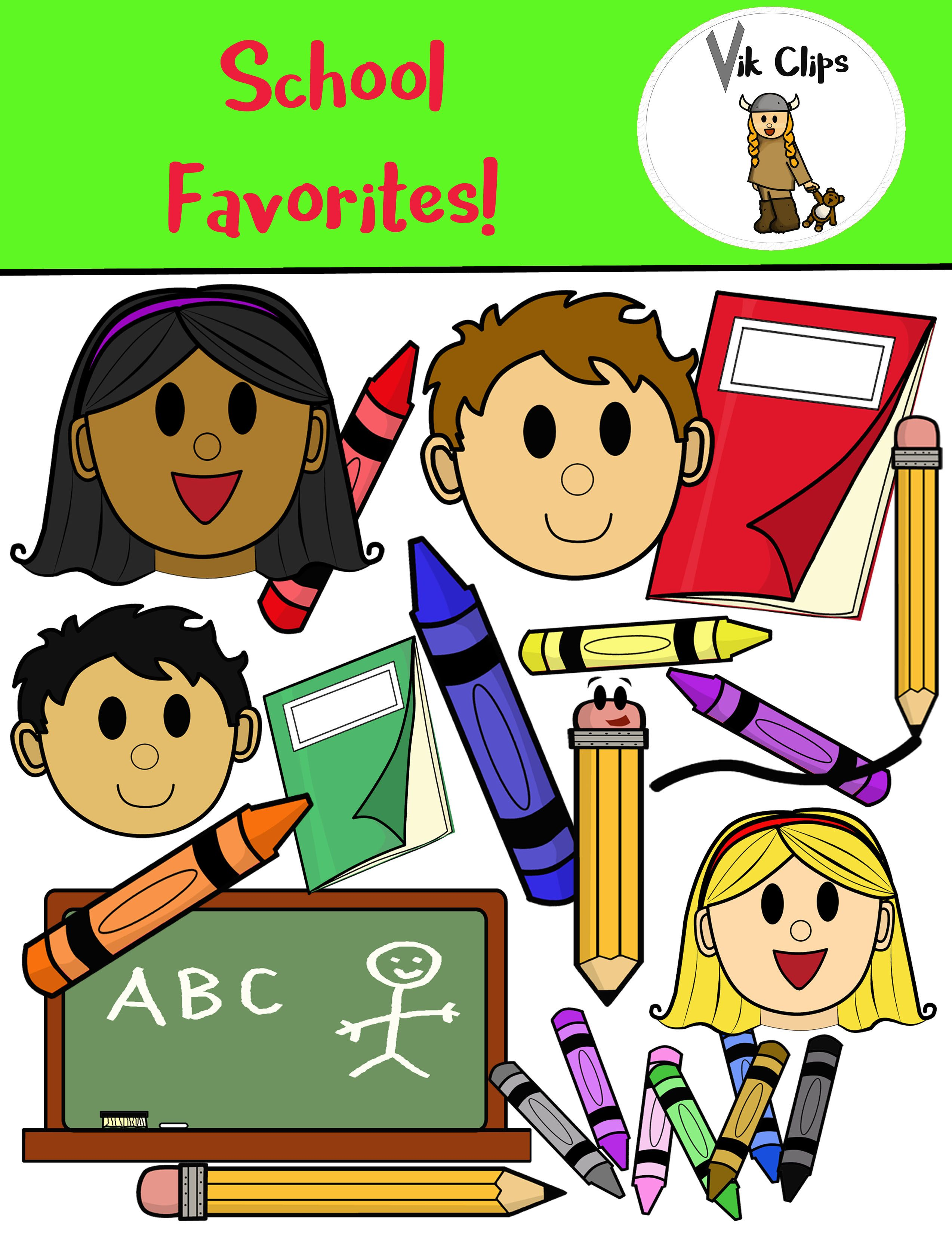 medium resolution of enjoy this free downloadable clipart of school favorites this set comes with 24 coloured and