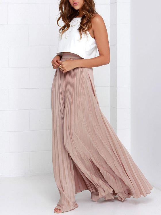 kostengünstig elegant und anmutig das billigste Pink Pleated Maxi Skirt EmmaCloth-Women Fast Fashion Online ...