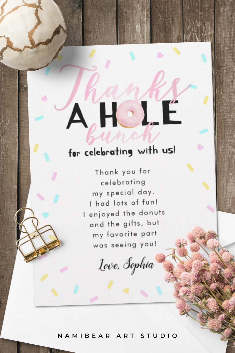 Thanks A Whole Bunch Donut Theme Birthday Party Thank You Card