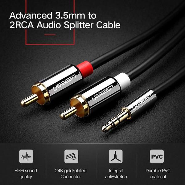 high end 3 5mm to 2 rca cable enables you to connect an iphone ipad rh pinterest com