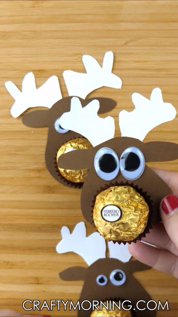 Photo of Ferrero Rocher Chocolate Reindeer Treats – Crafty Morning
