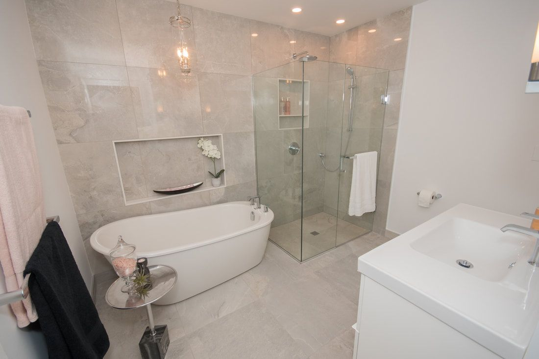 modern washroom in town house with curb less shower and free rh pinterest com
