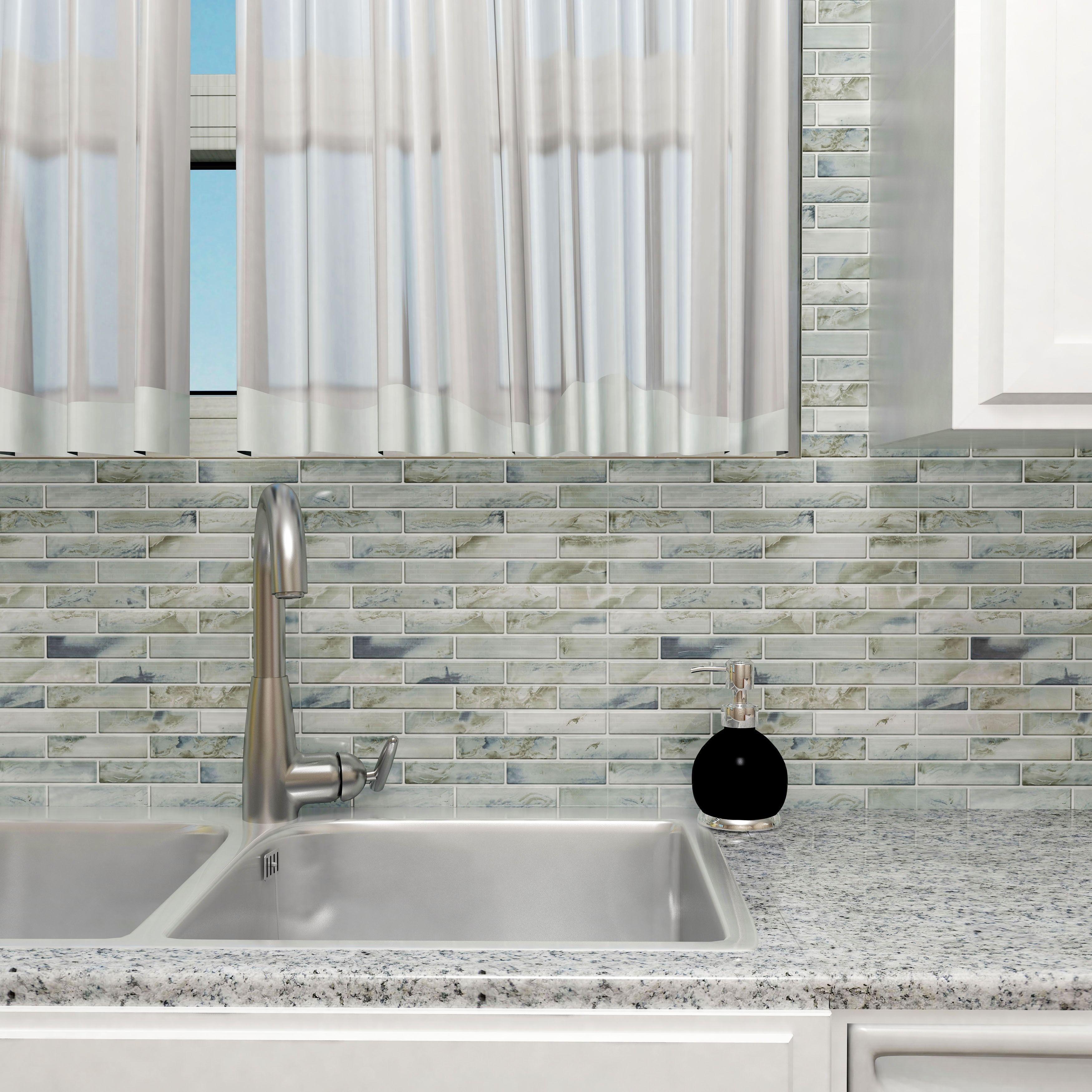 SomerTile 1175x12 inch Stunning Brick Silver Glass Mosaic