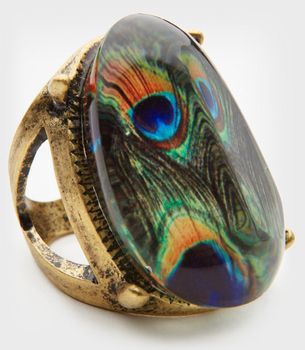 Resin Peacock Print Oval Ring