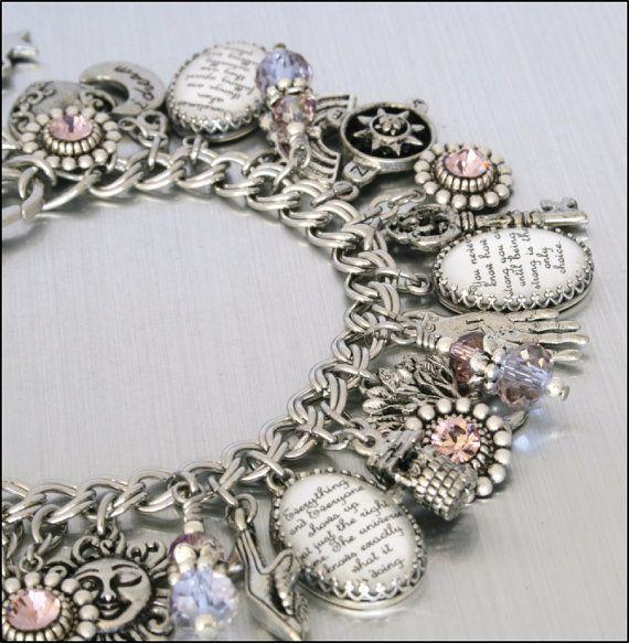BELIEVE IN LOVE Antique Silver Charm Bracelet Spiritual Healing Jewellery for Women
