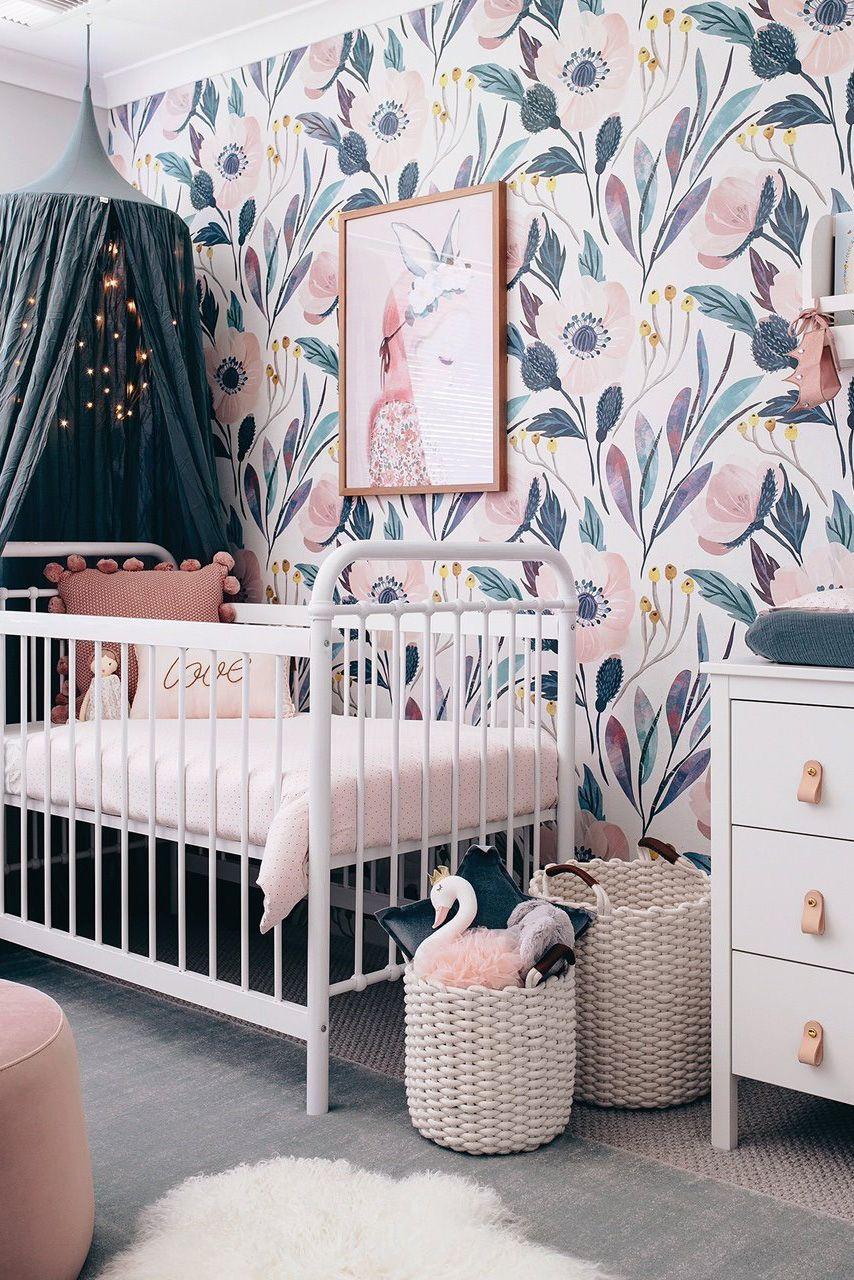 Moody Removable Wallpaper Nursery Wall Decor Nursery Etsy In 2020 Girl Nursery Room Baby Girl Nursery Room Baby Girl Room
