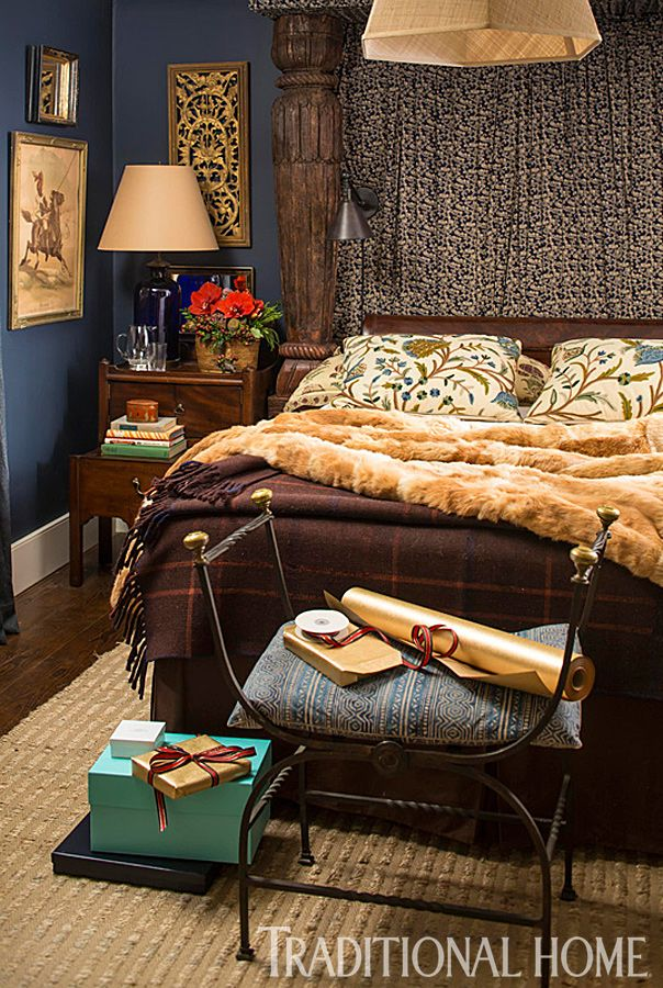 The headboard in this handsome bedroom was