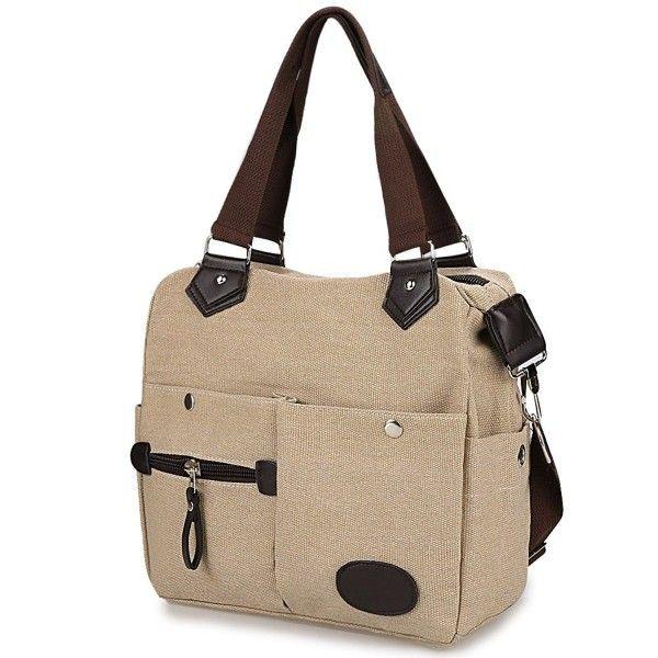 Canvas Handbag with Pockets Women Satchel Handbag Casual Crossbody ... 8d17bf04c220e