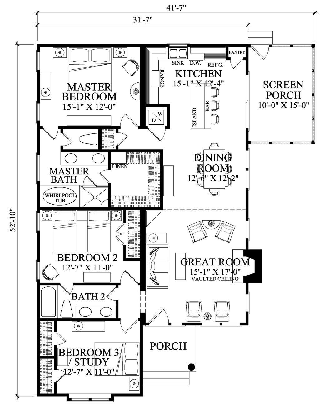 bungalow style house plan 3 beds 2 baths 1504 sq ft plan 137 270 rh pinterest com