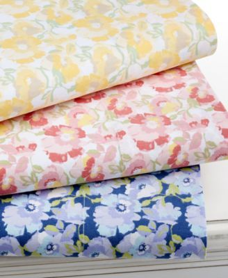 Is there anything more comforting than soft, flowery sheets on a bed? | Martha Stewart Collection Wild Blossoms 300 Thread Count Sheet Sets