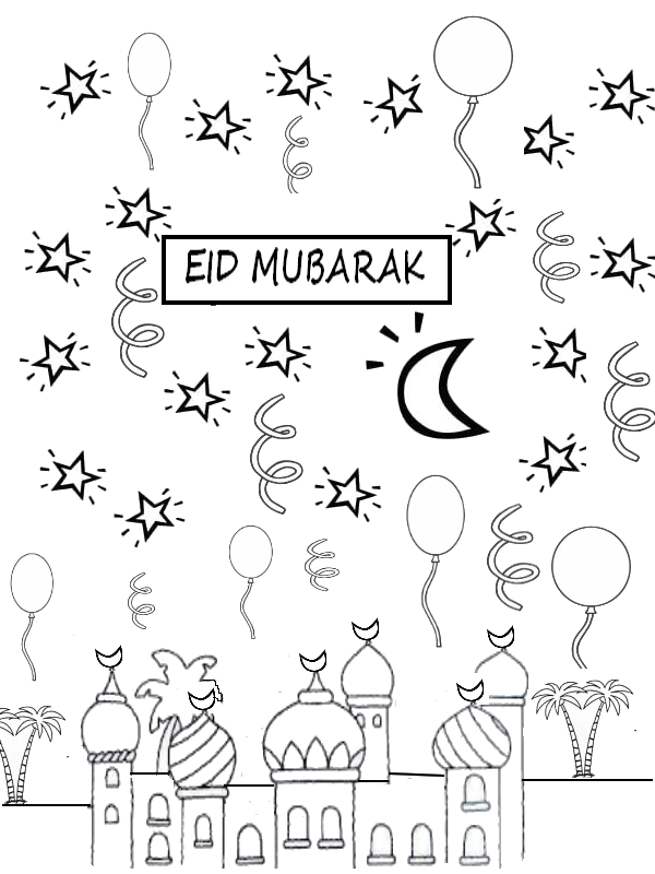 Elegant Coloring Page Eid Mubarak Throughout Eid Card Templates