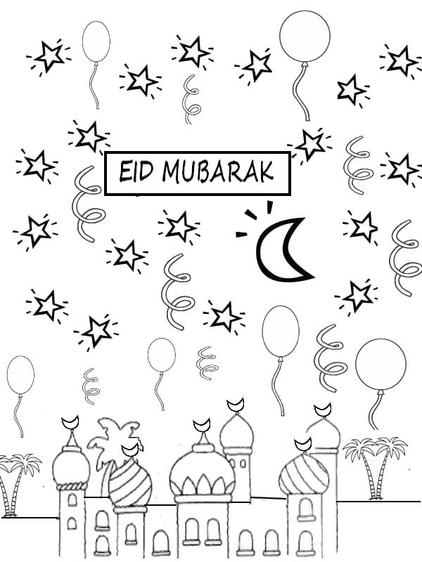 coloring page Eid Mubarak Coloriages islamiques Pinterest Eid