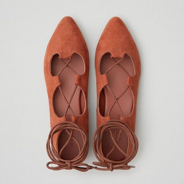 AE Pointed Toe Lace-Up Flat (1,740 PHP) ❤ liked on Polyvore featuring shoes, flats, lace up flat shoes, tie shoes, laced up flats, flat pointy toe shoes and almond toe flats