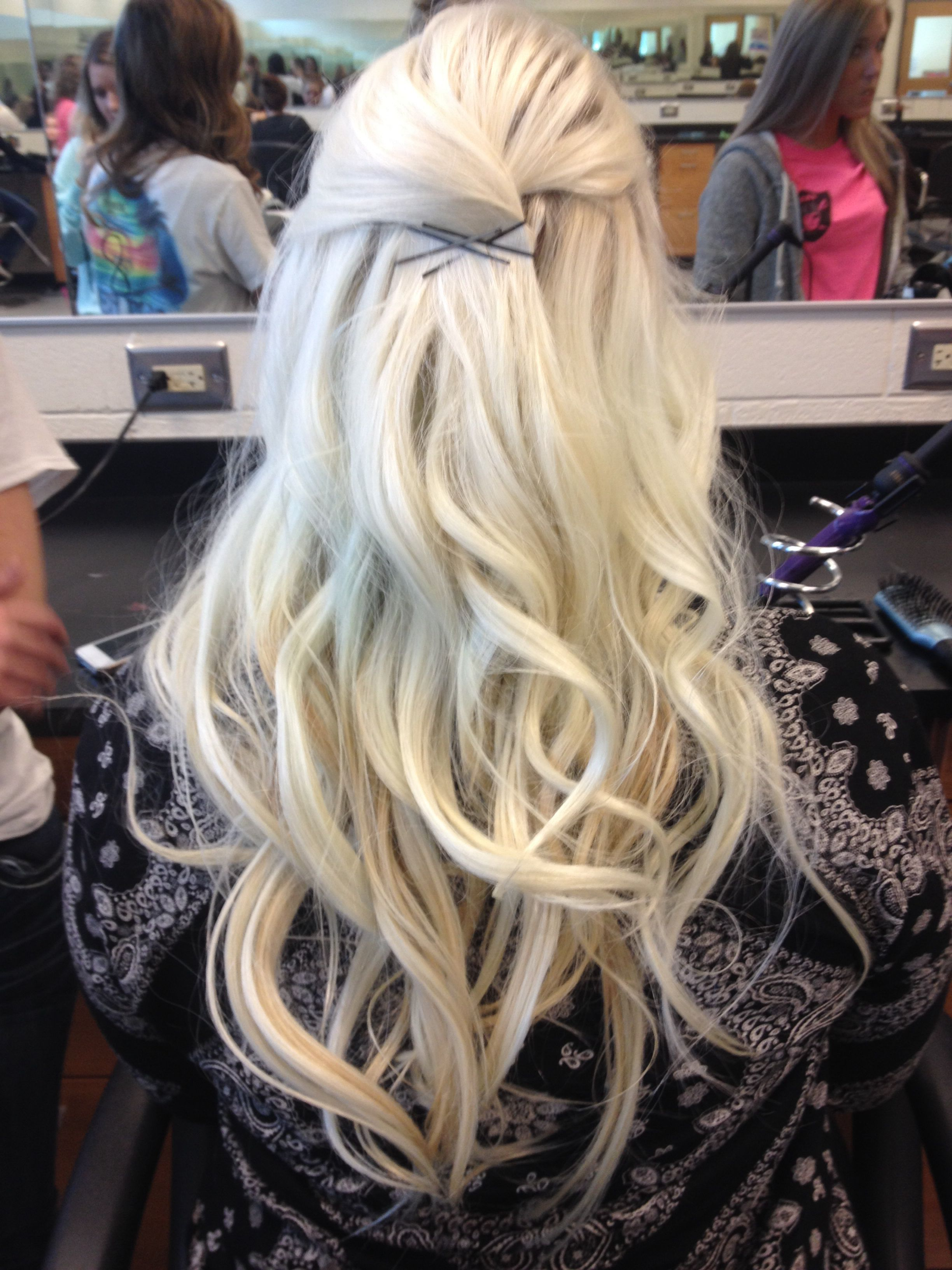 Curled my friend's bleach blonde hair ! | Hair & Fashion ...