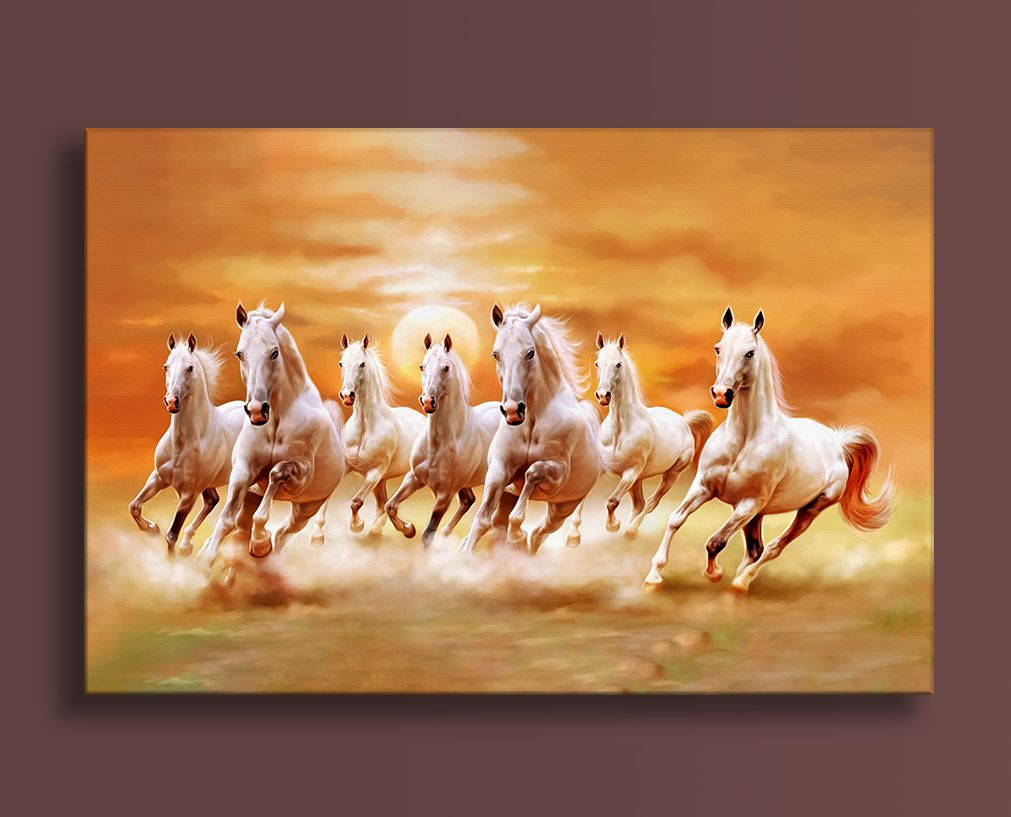 Seven Running Horses Vastu Painting For Living Room And Office Size 54 Inch X 36 Inch Horse Canvas Painting Seven Horses Painting Horse Oil Painting