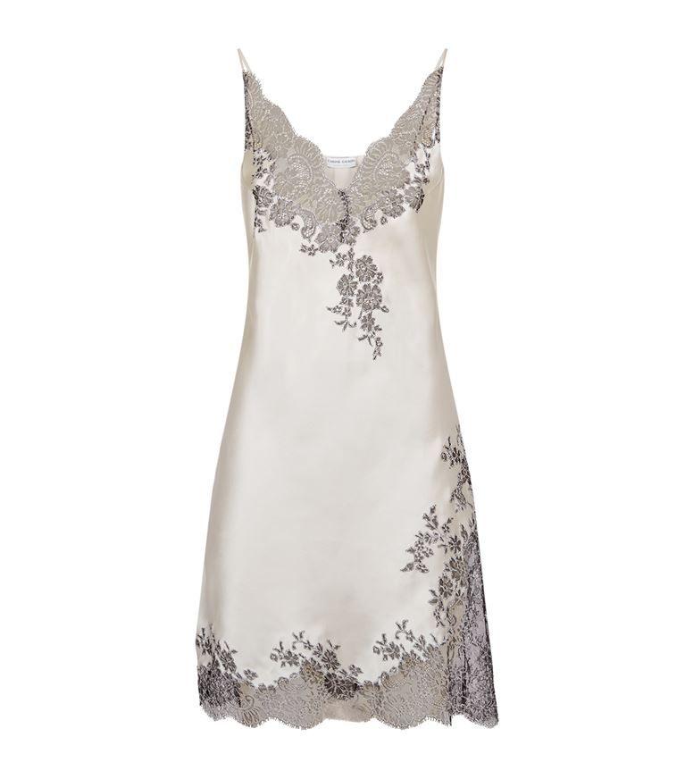 e9be6586ebfa1 Women: Nightdresses Carine Gilson Lace Trim Silk Short Chemise ...