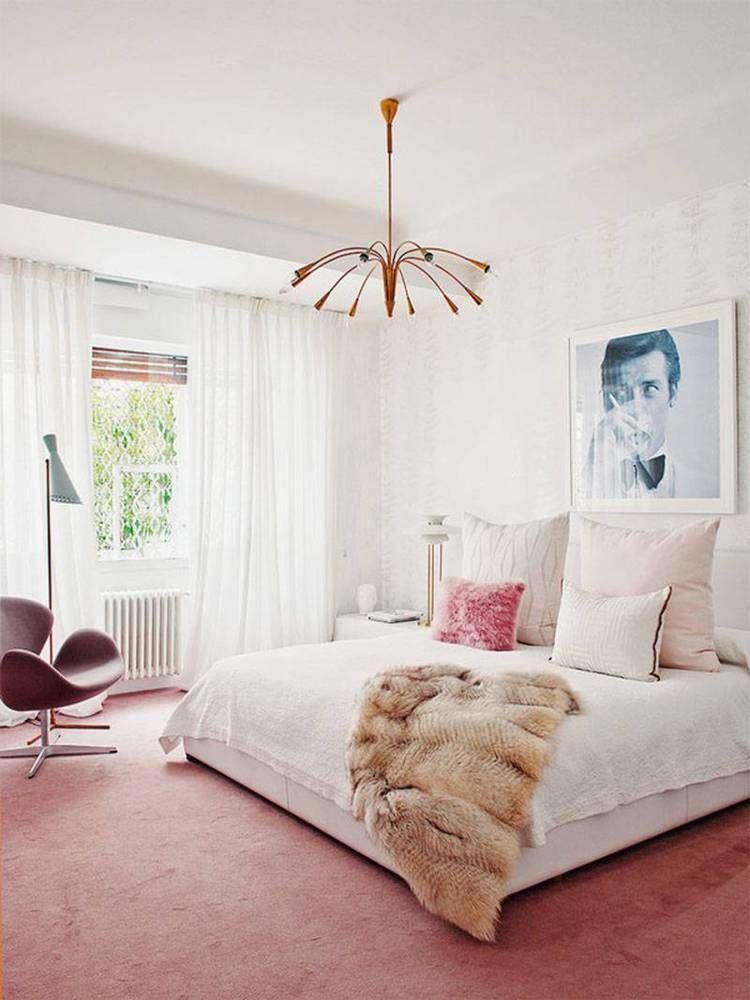 How To Decorate With Rose Quartz Domino Feminine Bedroom Pink Bedrooms Mid Century Modern Bedroom