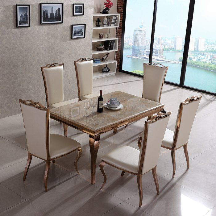 Derry S Julia Dining Table And 6 Chairs Reviews Wayfair Co Uk Dining Table Dining Table Setting Dining Table Marble