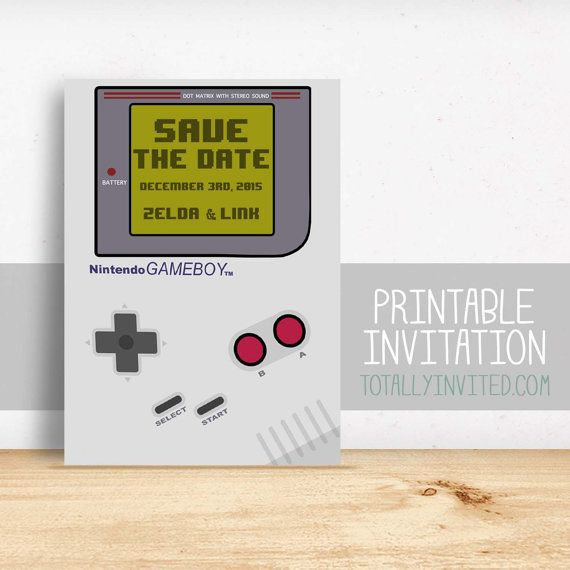 Save The Date Gameboy Nintendo Video Game Invitation Printable - Geeky wedding invitation templates