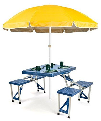 Portable Aluminum Folding Picnic Table With 4 Seats And Umbrella Yellow By Trademark Innovations You Can Get Additional Details At The Image
