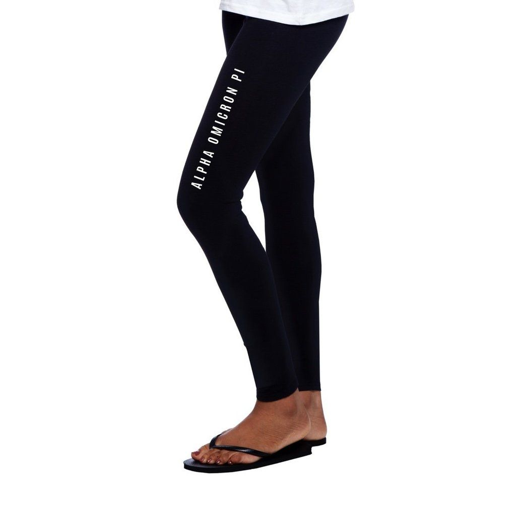d6ba19738cd8 Alpha Chi Omega leggings with beautiful Greek words down the thigh wear  with boots or flipflops.  alphachiomeg…