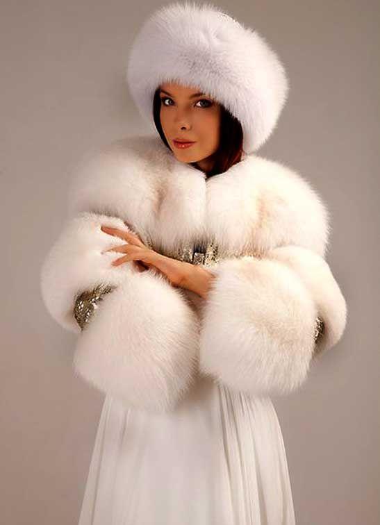 White Fox Hat And Wrap Fur Fashion Fur Fur Coats Women