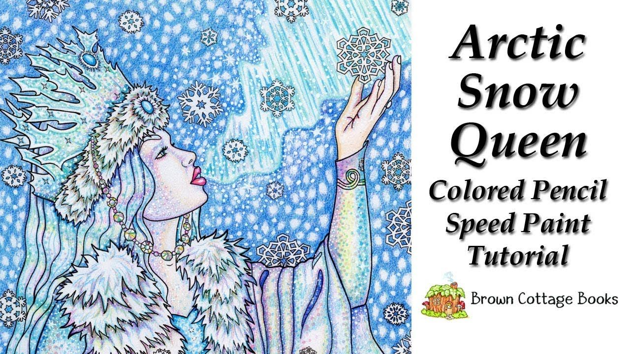 Arctic snow queen colored pencil drawing speed paint tutorial adult