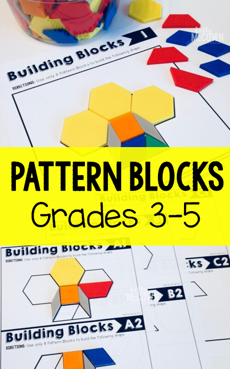 Pattern Blocks Elementary Math Task Card Set 1 Elementary Math
