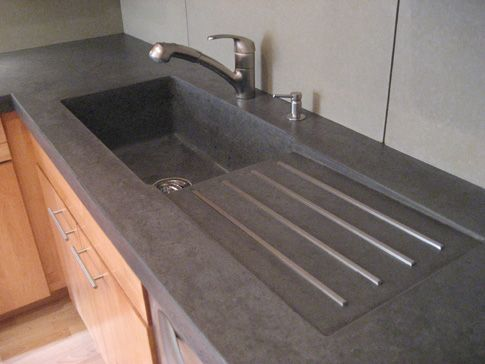 Cement Kitchen Sink Renovation Costs Dark Gray Concrete Counter With Light Contrasting Base In Tan Color