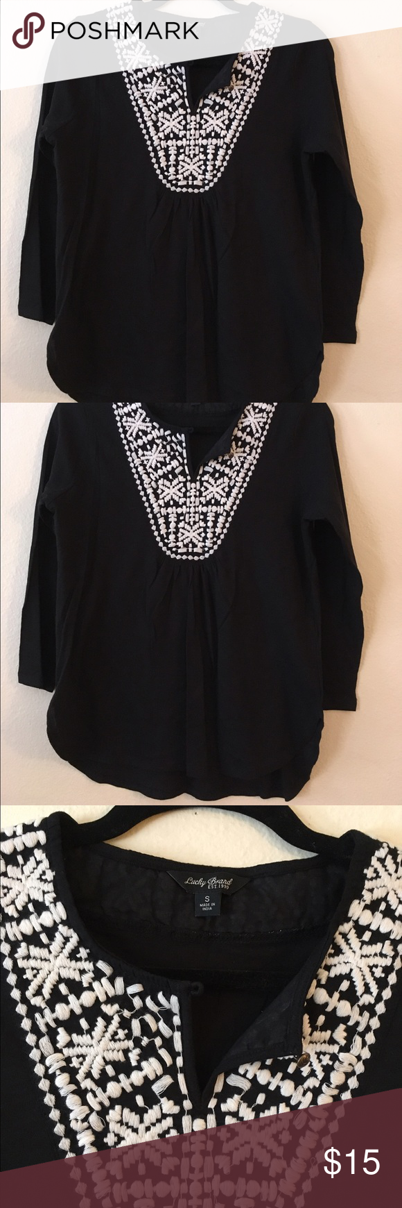 Lucky Brand 3/4 sleeve embroidered top Soft 3/4 sleeve top with embroidered detail. Lucky Brand Tops Tunics