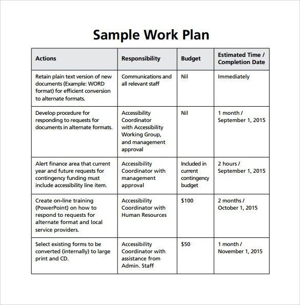 Sample Work Plan Sample Work Plan Template Revolutionary Photoshot