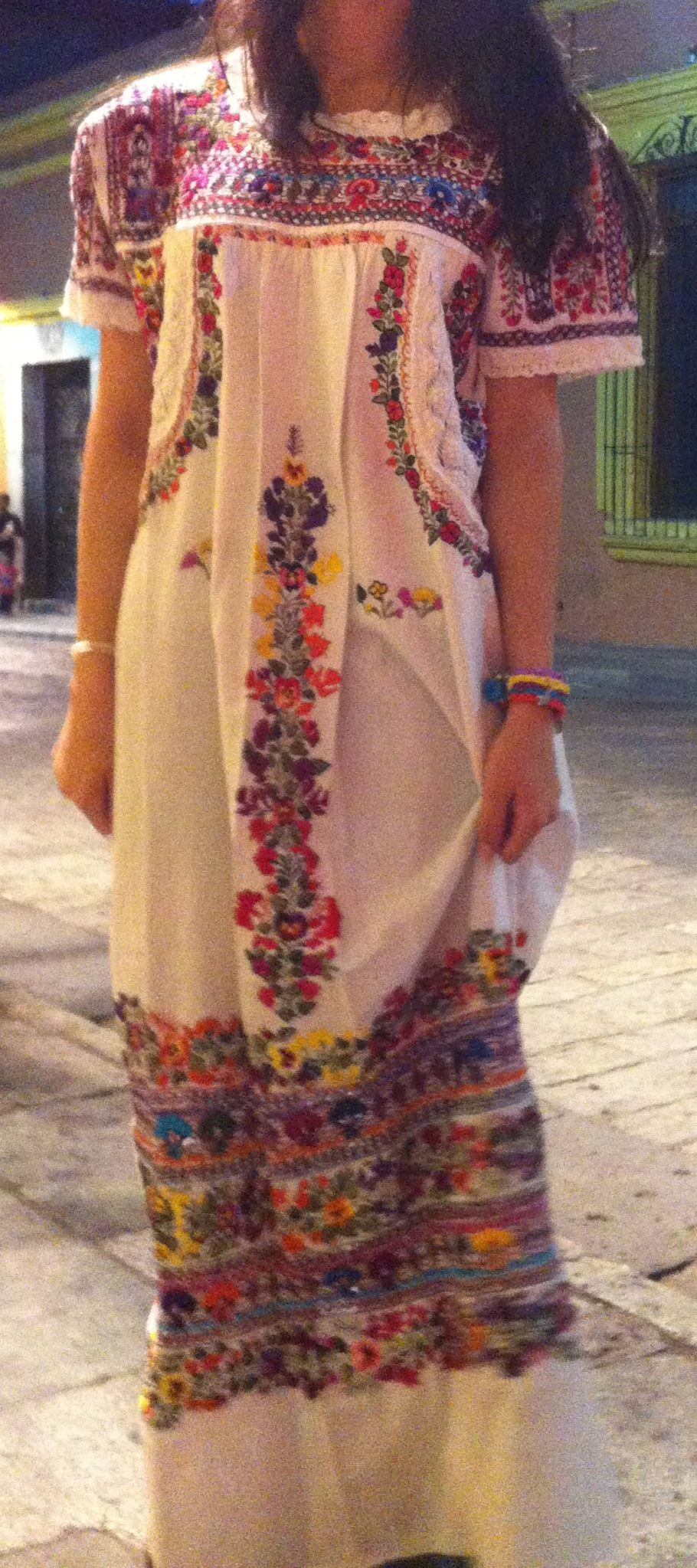 Mexican Bordado A Mano Hand Embroidered Traditional Dress