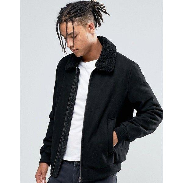 f63d75ead ASOS Wool Mix Bomber Jacket With Fleece Collar In Black (€80 ...