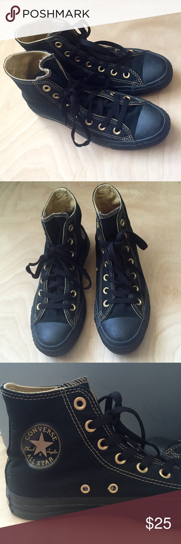 451a85175531 ALL BLACK Converse Sneakers Chuck Taylors Shoes 7 Black on black with gold  stitching and grommets. Great condition- only been worn a few times. Women s  size ...