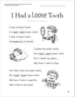 I Had A Loose Tooth Read Aloud Passage Fluency Building Read