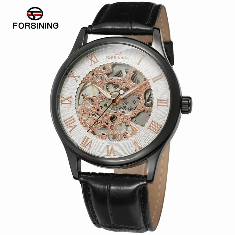 gold leather strap skeleton wear men for mens case watch watches party wrist transparent