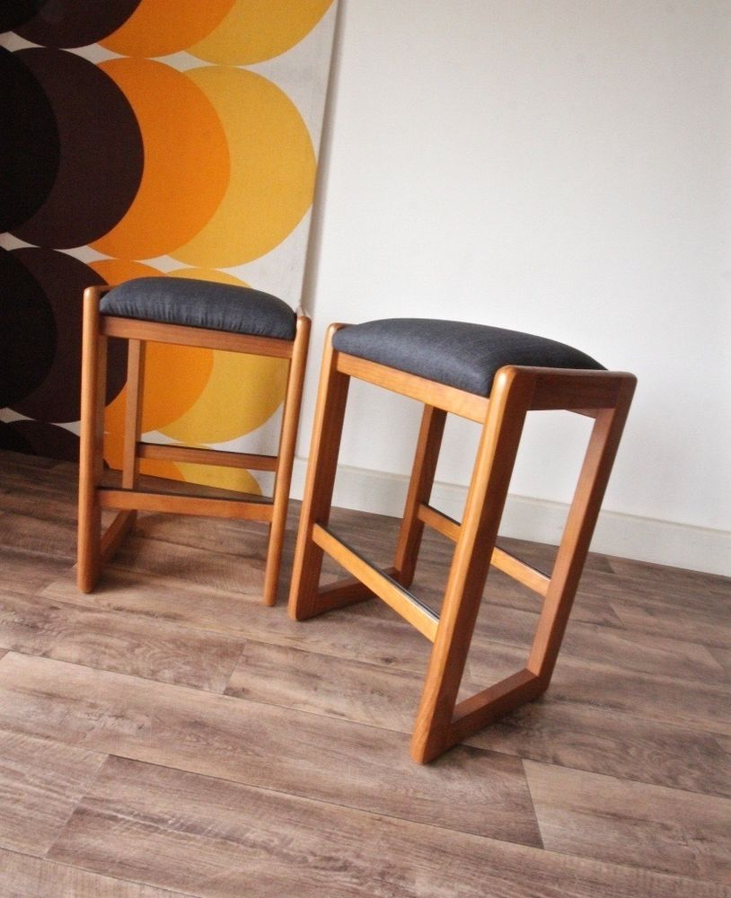 Pair of Newly Upholstered Vintage Retro Authentic Chiswell Padded Timber Stools in Home & Garden, Furniture, Bar Stools | eBay!