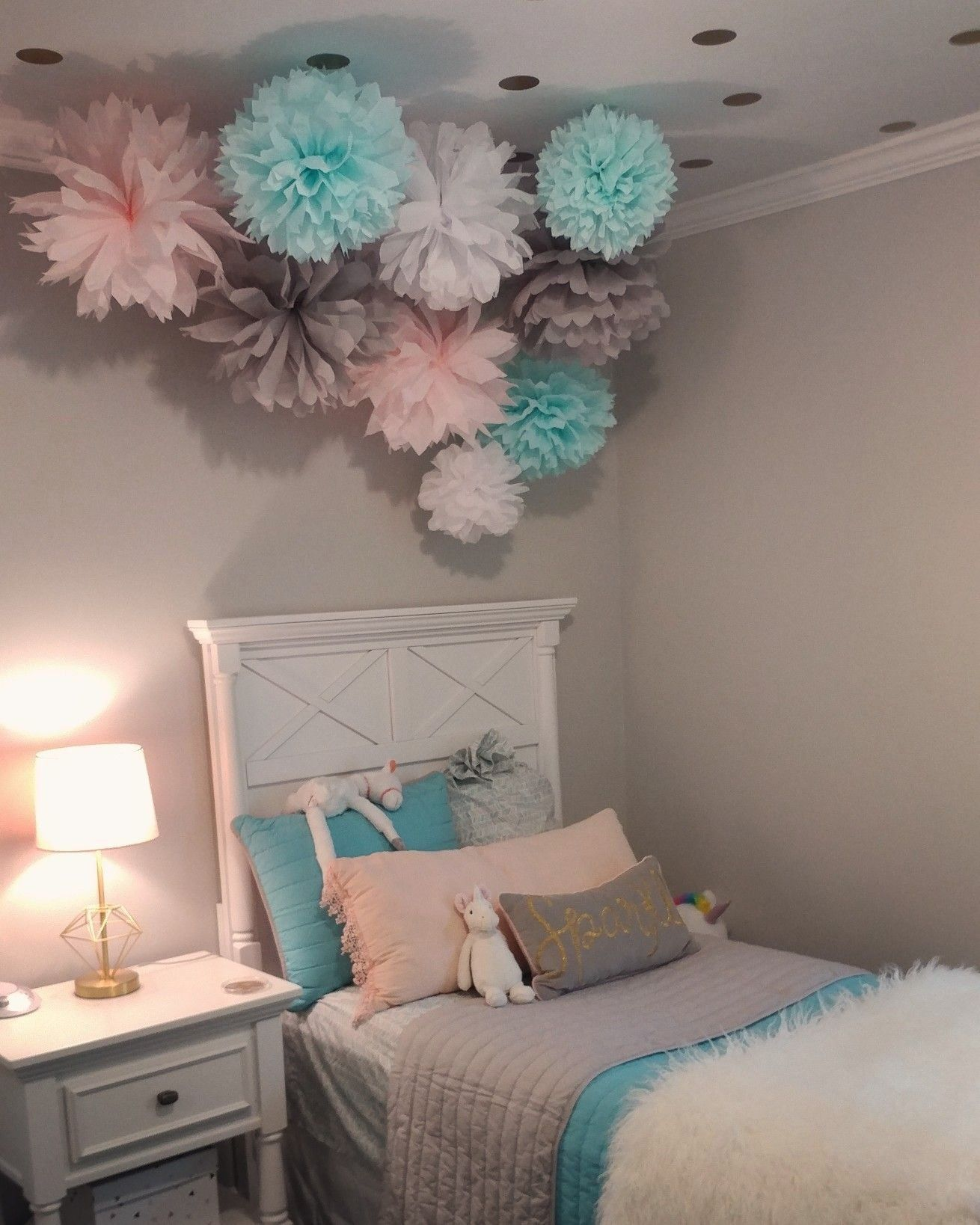 Gray Aqua Pale Pink Girls Room Tissue Pompoms And Gold Vinyl Dots On The Cei In 2020 Pink Girl Room Pink And Grey Room Pink Bedroom For Girls
