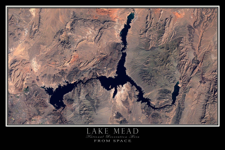 Lake Mead Nevada - Arizona Satellite Poster Map in 2018 | NATURE ...