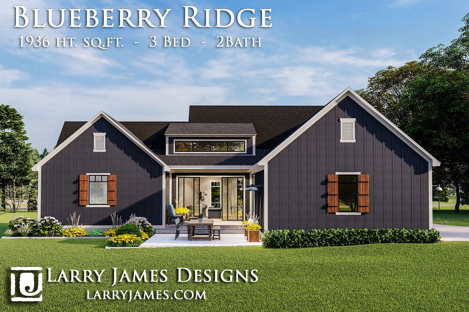 Rear Elevation of the Blueberry Ridge House Plan House