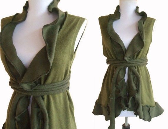 Ruffled Sweater Vest M/L by RebeccasArtCloset on Etsy