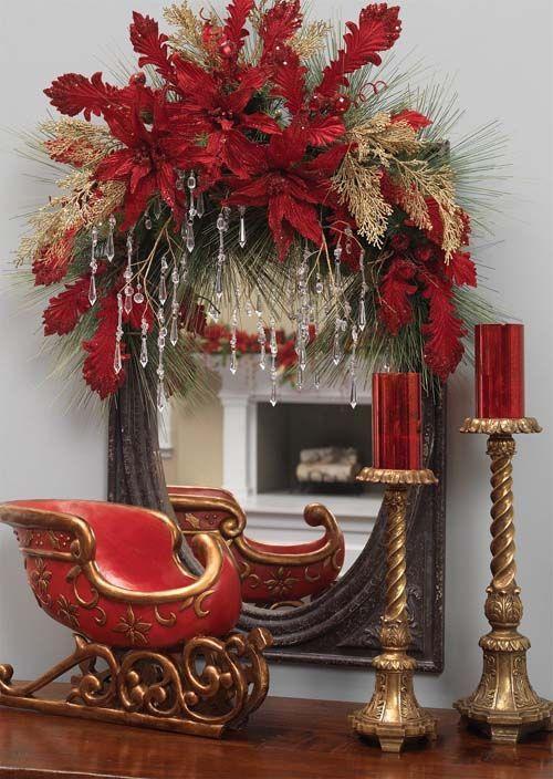 decoracion-navidad-rojo-con-dorado (8 Navidad roja, Decoración de
